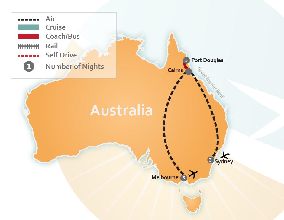 Map Of Australia Port Douglas.Sydney Melbourne Port Douglas Trip St 2377a