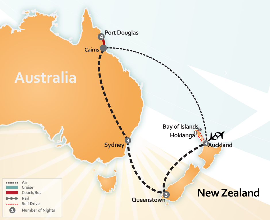 Destinations New Zealand Australia Auckland Hokianga Bay Of Islands Queenstown Sydney And Port Douglas