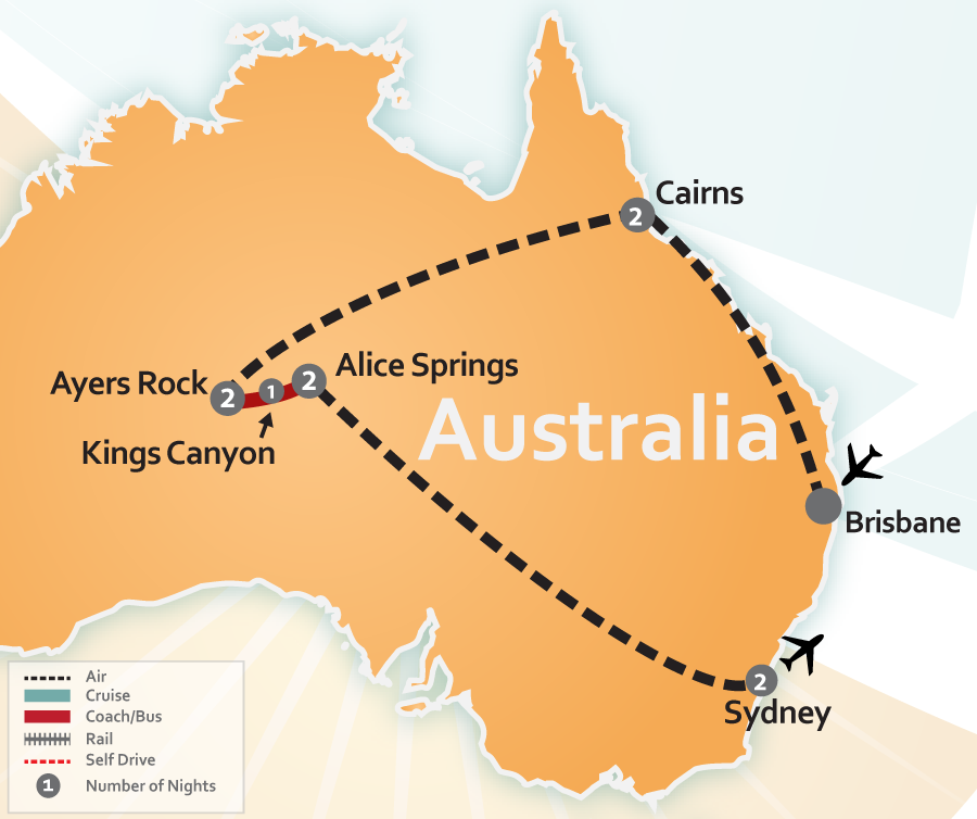 Australia Outback, Great Barrier Reef and Sydney Travel Map