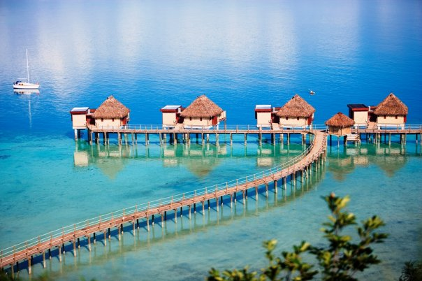 Fiji vacations - Stay in overwater bungalows for your romantic getaway.