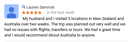 About Australia Vacation Review from Lauren