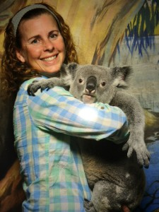Sandy Holding a Koala at Cairns Night Zoo during her vacation in Australia