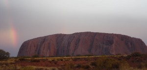 Uluru after a sudden rain storm. Cleared up just at sunset.
