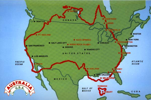 Australia Map And States.How Big Is Australia Compared To Usa