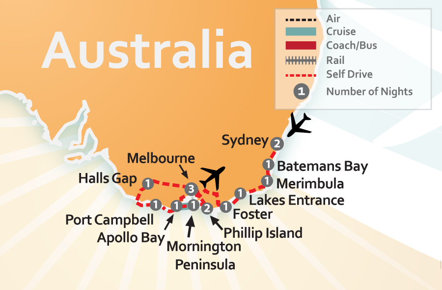Sydney - Melbourne - Great Southern Touring Route Australia