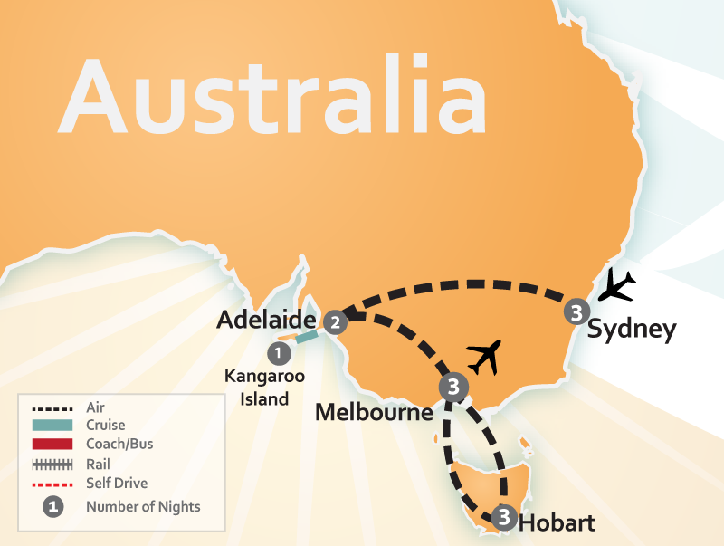 Map of Sydney, Australia and Tasmania Vacation