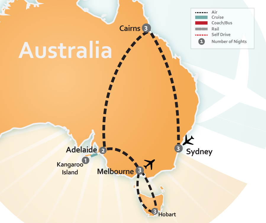 Map of Sydney, Great Barrier Reef, Australia and Tasmania Vacation