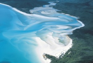 Aerial of Hill Inlet Whitehaven Beach
