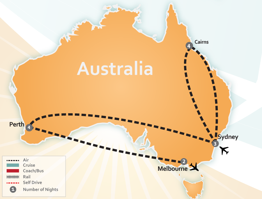 Cairns, Sydney, Perth and Melbourne, Australia Vacation Map
