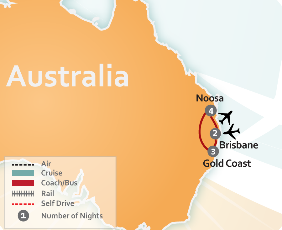 Noosa, Gold Coast and Brisbane Australia Vacation Map