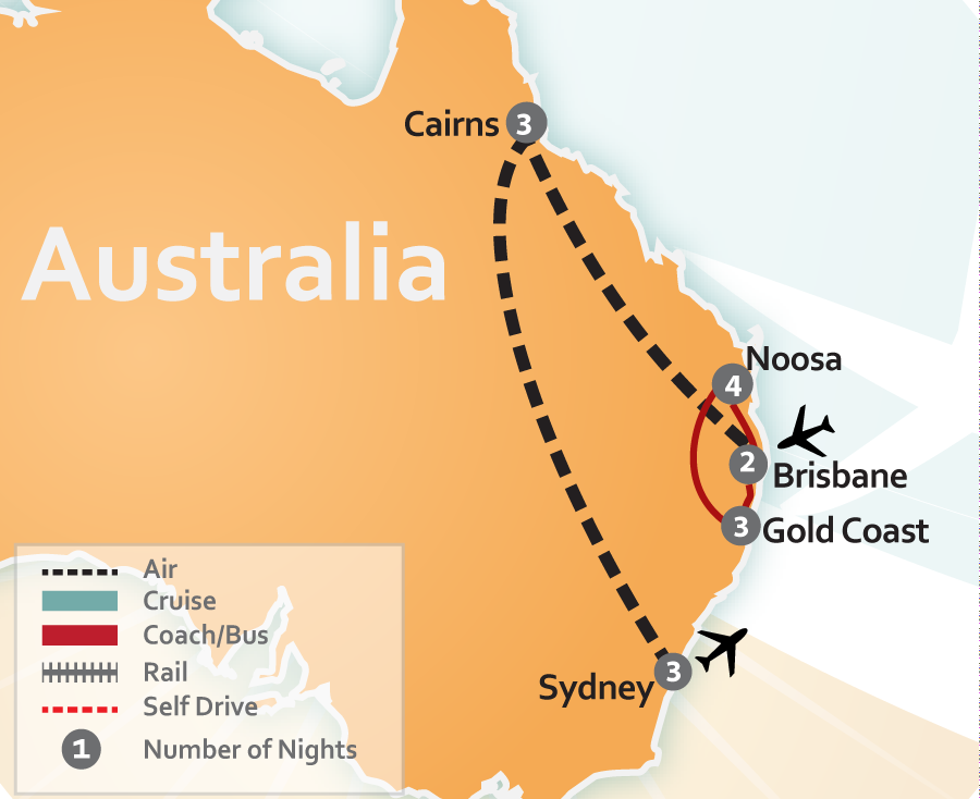 Noosa, Gold Coast, Brisbane, Cairns and Sydney, Australia Vacation Map