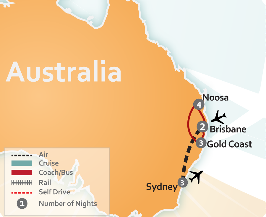 Noosa, Gold COast, Brisbane and Sydney Vacation Map