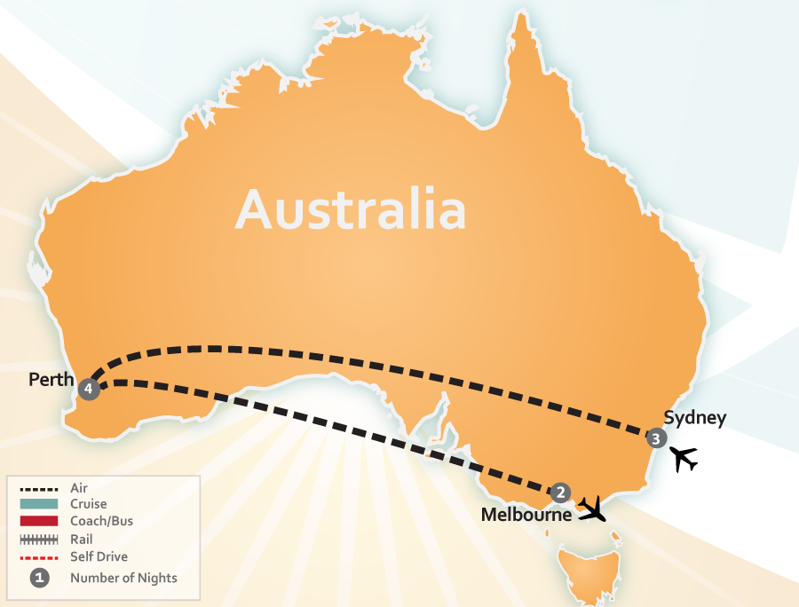 Sydney Perth and Melbourne Australia Vacation Map