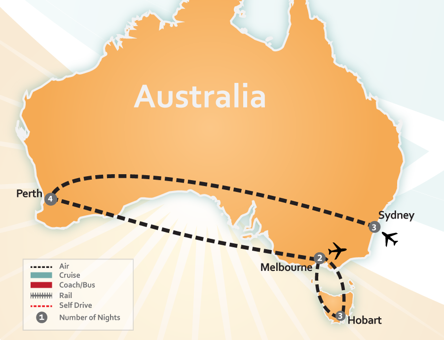Sydney, Perth, Melbourne and Hobart, Australia Vacation Map