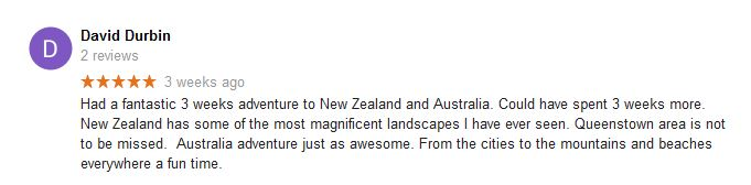 David Durbin Australia and New Zealand travel agency review