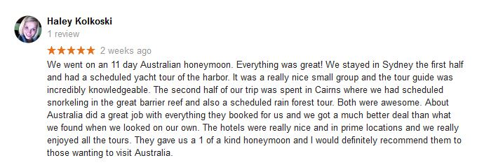Haley Kolkoski best Australia travel agency review