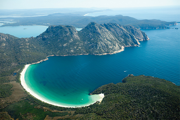 Aerial of Wineglass Bay credit Tourism Tasmania