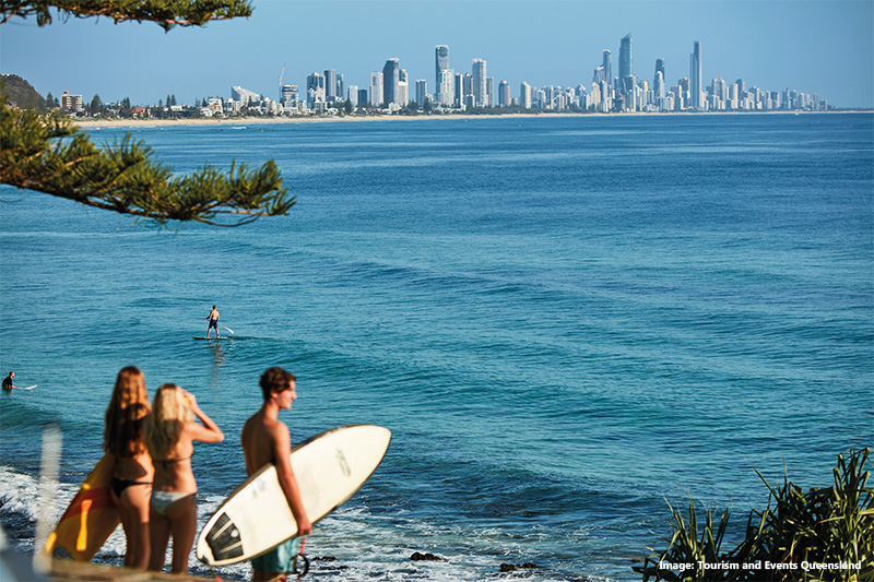 Burleigh Heads Beach, Gold Coast credit Tourism & Events Queensland