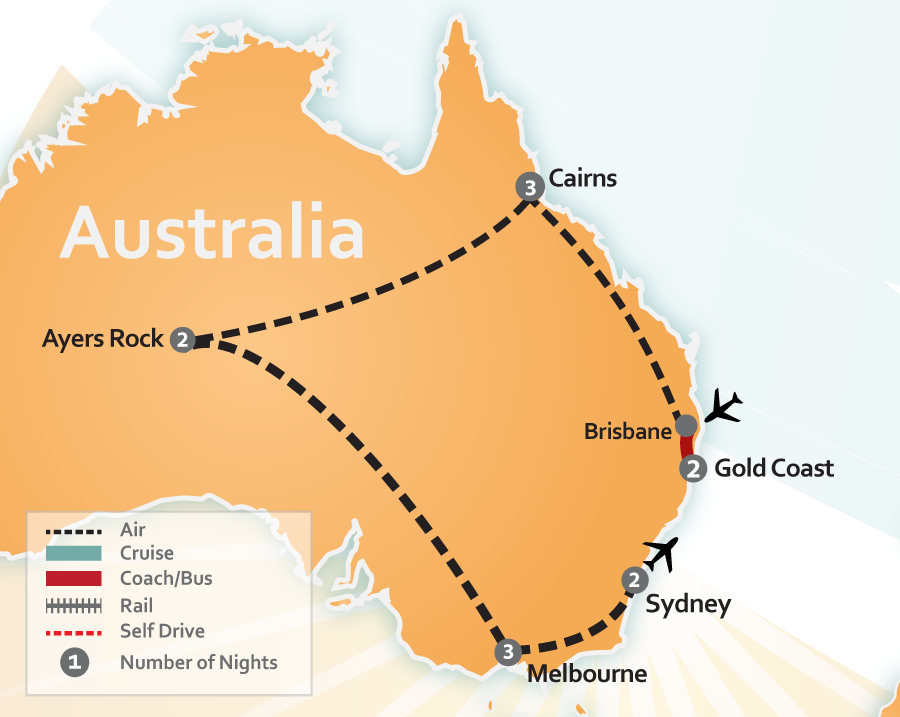 Gold Coast Cairns Ayers Rock Melbourne Sydney Australia Vacation map