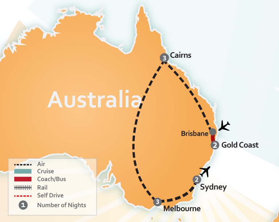 Gold Coast Cairns Melbourne Sydney Vacation map