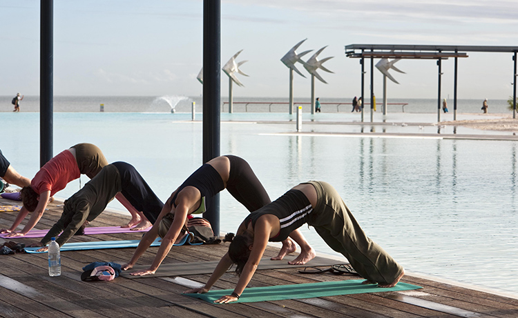 Morning Yoga Esplanade Pool things to do in Cairns credit TEQ Andrew Watson