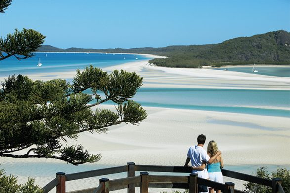 Visit Hill Inlet, Whitehaven Beach, Whitsundays for an Australia honeymoon credit Tourism and Events Queensland