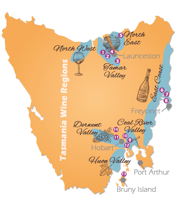 Tasmania Wine Regions Map