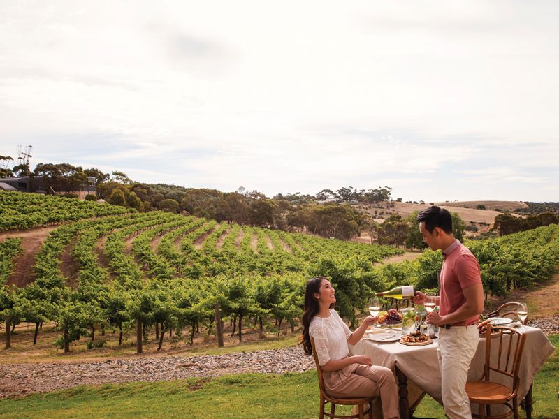 Couple enjoying an alfresco meal at Chapel Hill Winery